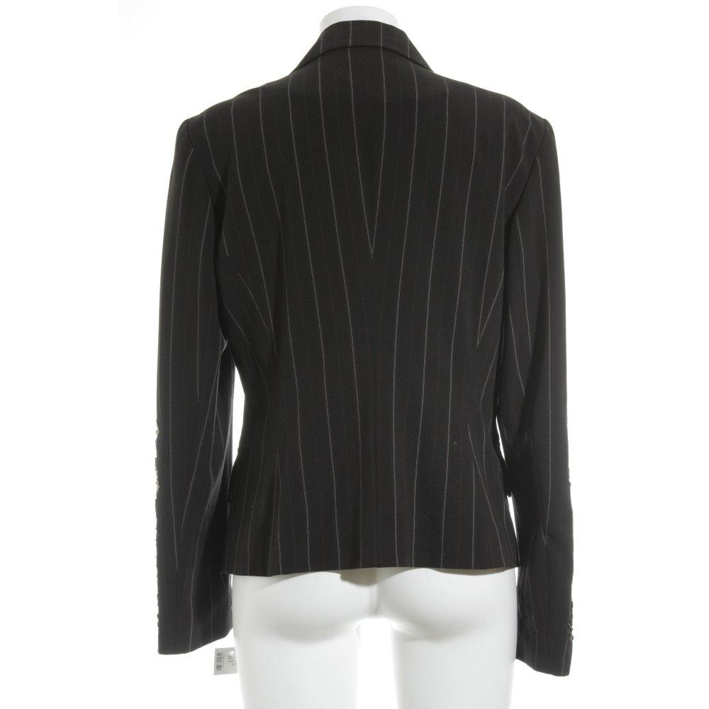 nienhaus kurz blazer nadelstreifen extravaganter stil damen gr de 40 schwarz ebay. Black Bedroom Furniture Sets. Home Design Ideas