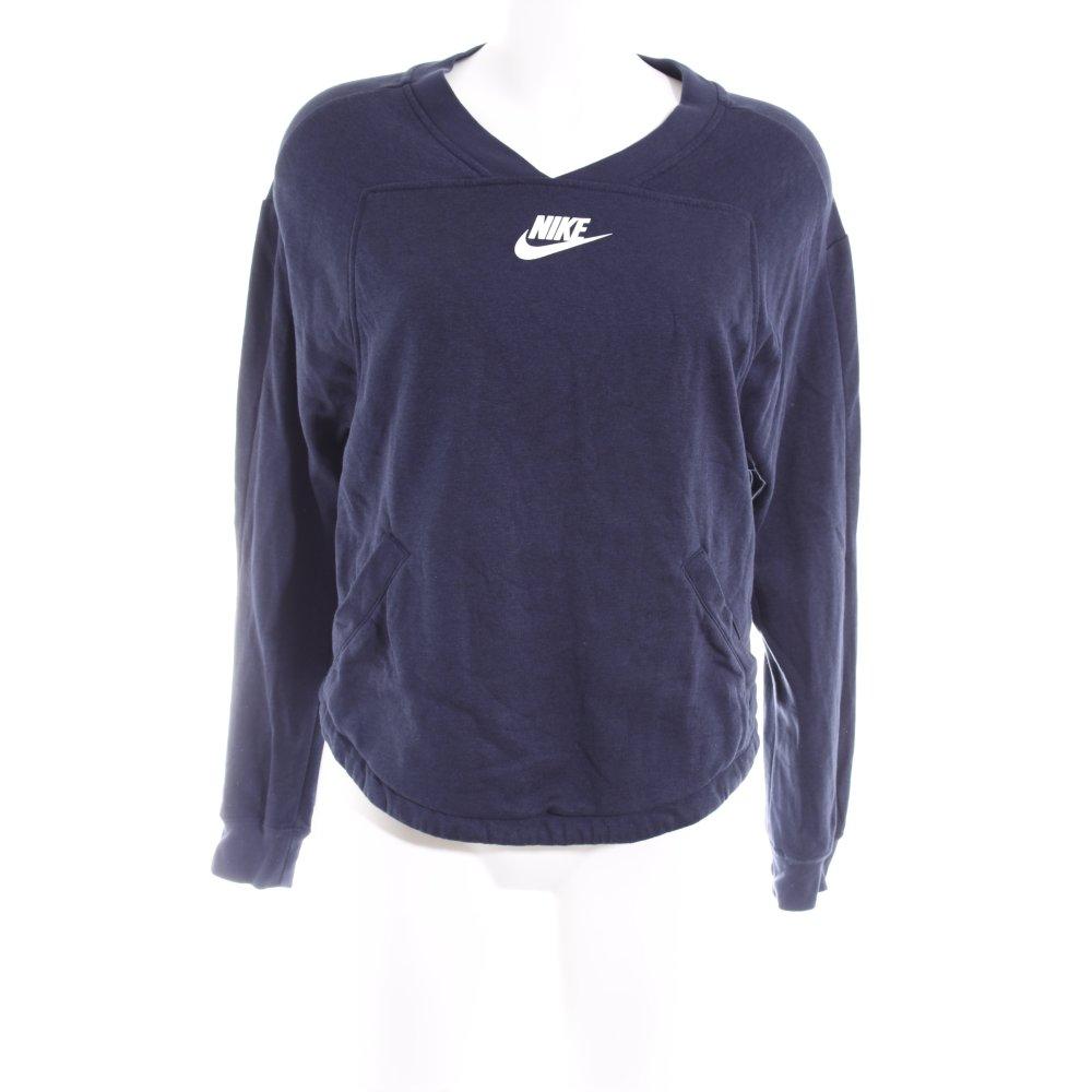 Bleu Avec Style Blanc Pull Thème Nike Col Imprimé V En Foncé HZWTqI