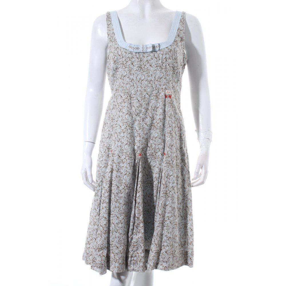noa noa dress light brown light blue flower pattern embroidered logo women s ebay. Black Bedroom Furniture Sets. Home Design Ideas