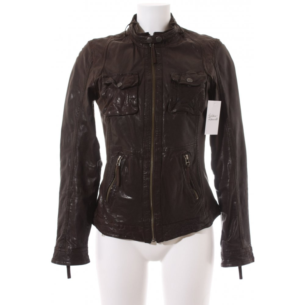 oakwood leather jacket dark brown biker look women s size uk 10 ebay. Black Bedroom Furniture Sets. Home Design Ideas