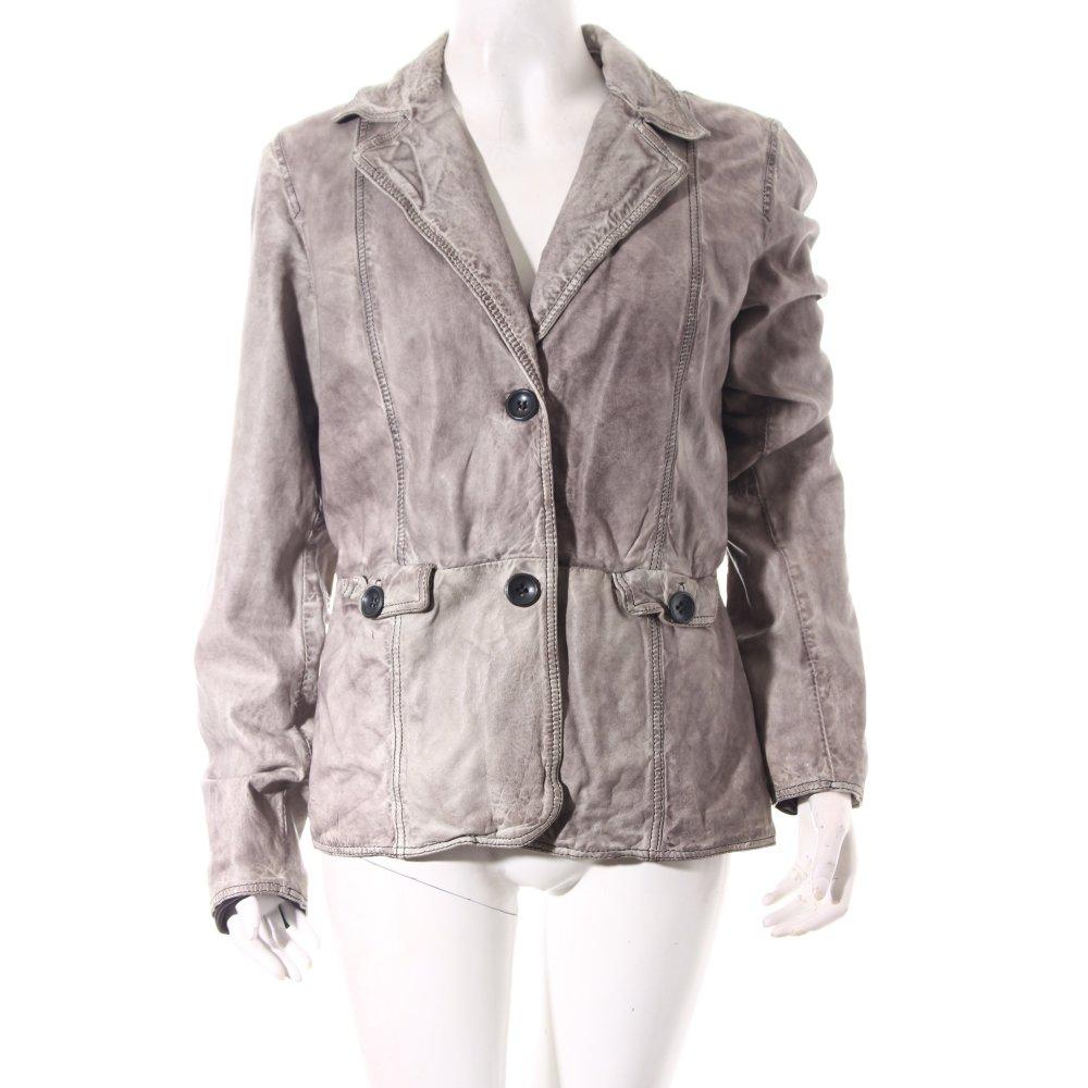 oakwood lederjacke grau casual look damen gr de 42 jacke jacket leder ebay. Black Bedroom Furniture Sets. Home Design Ideas