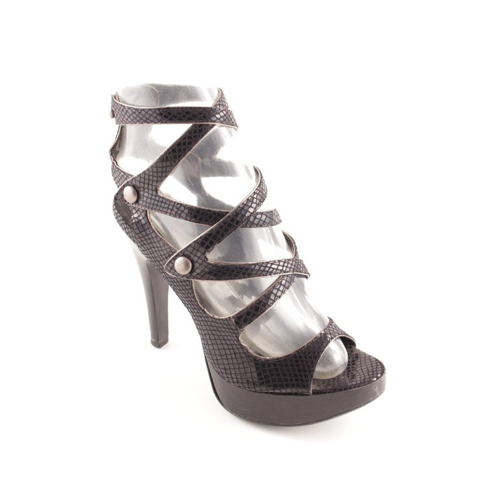 OFFICE Sandalo con cinturino e tacco alto nero stampa rettile Donna Taglia IT 38