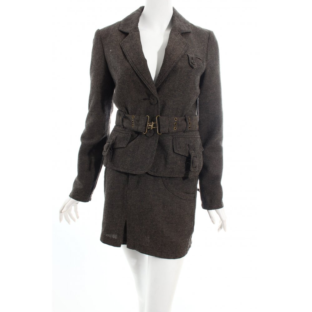 only tailleur noir beige style anglais dames t 38 costume. Black Bedroom Furniture Sets. Home Design Ideas