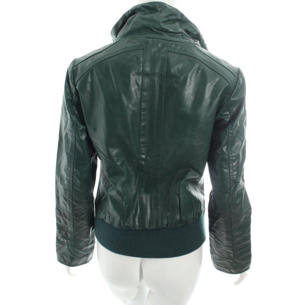 only lederjacke dunkelgr n biker look damen gr de 38 jacke jacket leder ebay. Black Bedroom Furniture Sets. Home Design Ideas