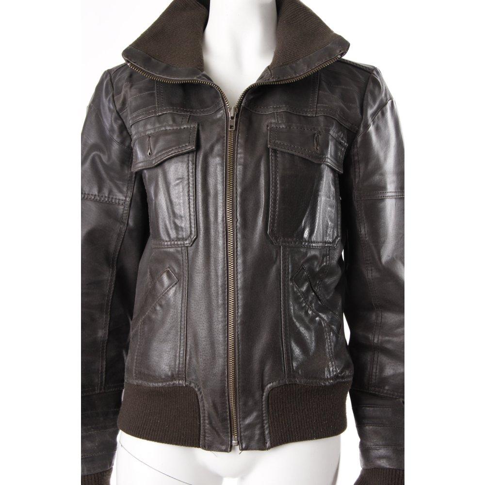 only lederjacke graubraun damen gr de 40 braun jacke jacket leder ebay. Black Bedroom Furniture Sets. Home Design Ideas