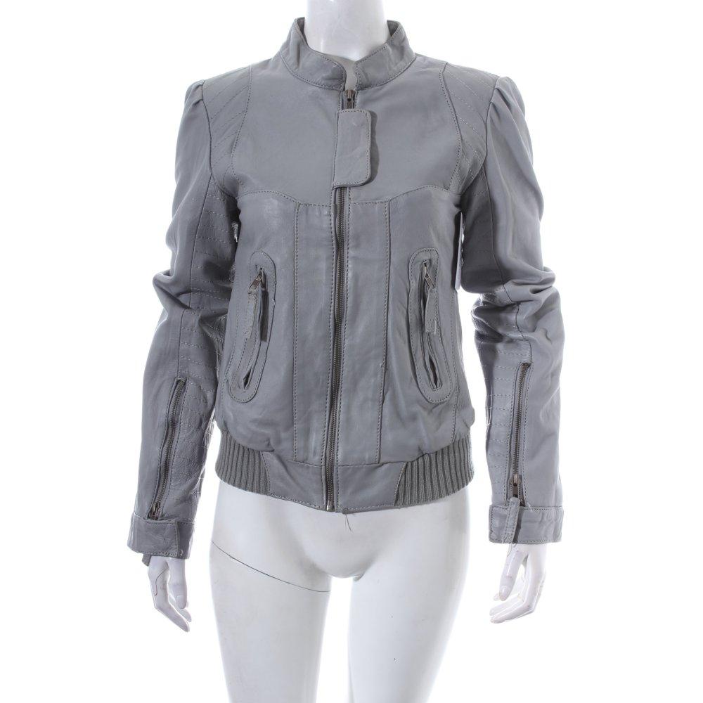 only lederjacke hellgrau urban look damen gr de 36 jacke jacket leder ebay. Black Bedroom Furniture Sets. Home Design Ideas