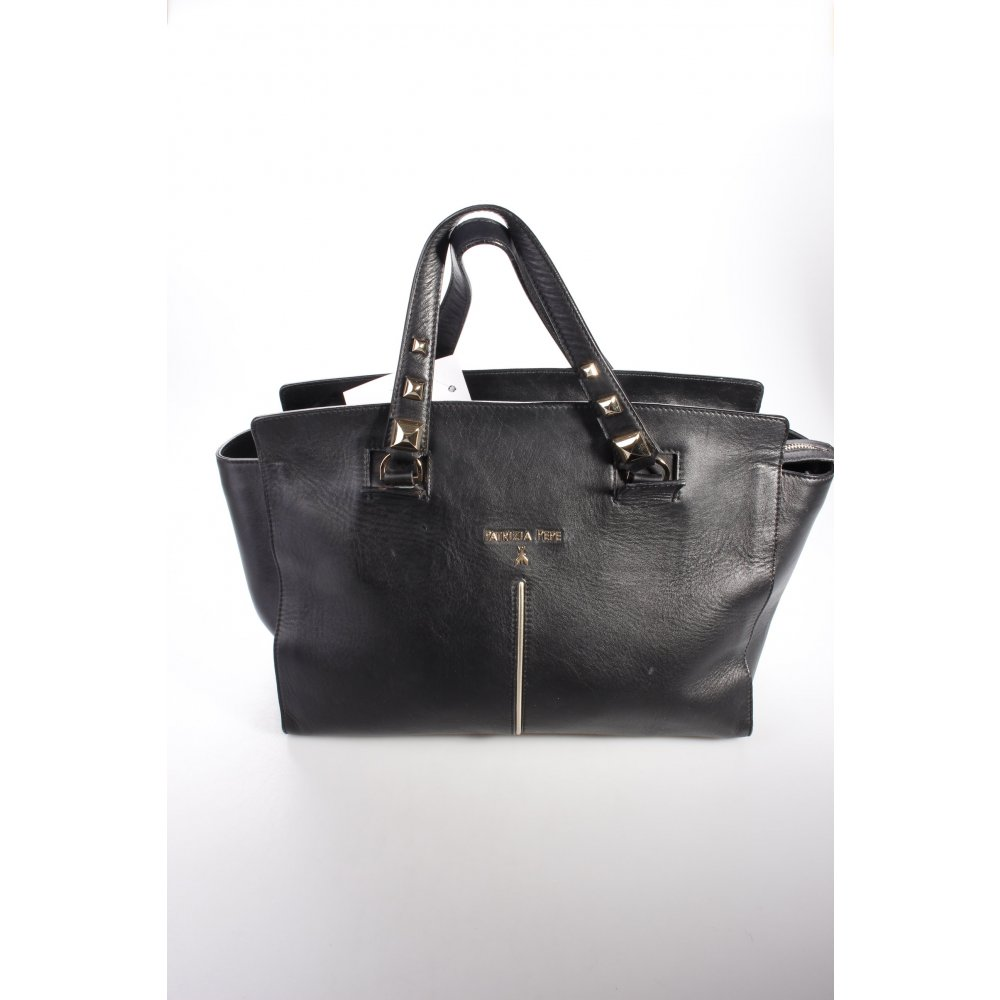 patrizia pepe henkeltasche schwarz damen tasche bag leder carry bag ebay. Black Bedroom Furniture Sets. Home Design Ideas