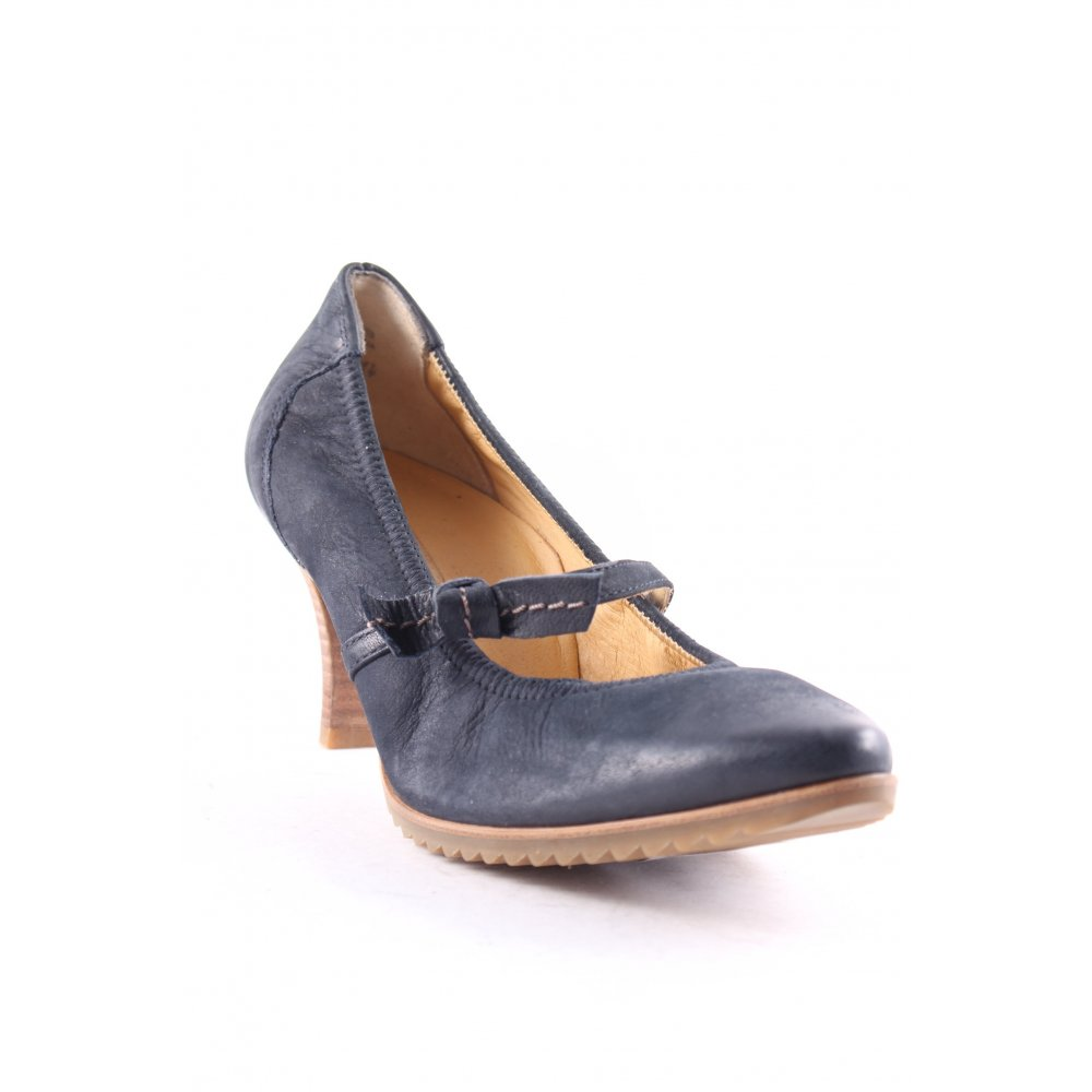 paul green mary jane pumps dark blue beige casual look women s size uk 6 ebay. Black Bedroom Furniture Sets. Home Design Ideas
