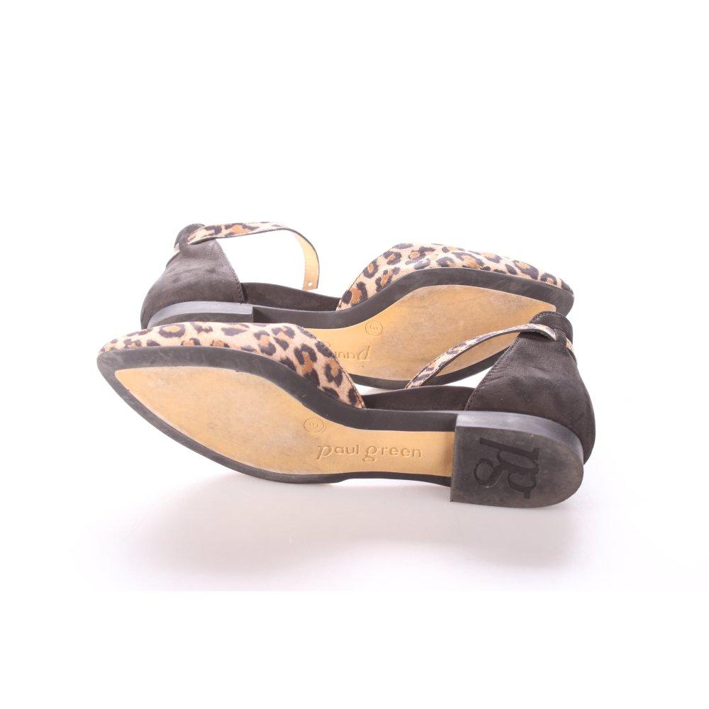 paul green slingback ballerinas black beige leopard. Black Bedroom Furniture Sets. Home Design Ideas