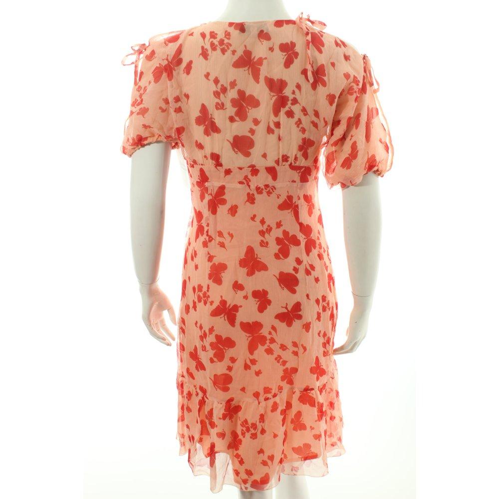 Paul joe a linien kleid lachs hellrot motivdruck for Klassischer stil