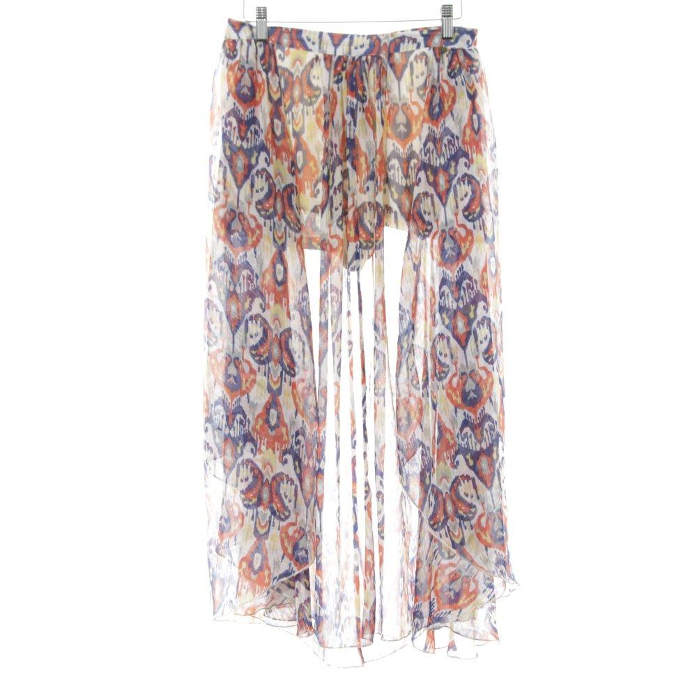 Details zu PEPE JEANS Midirock abstraktes Muster Boho Look Damen Gr. DE 36 weiß Rock Skirt