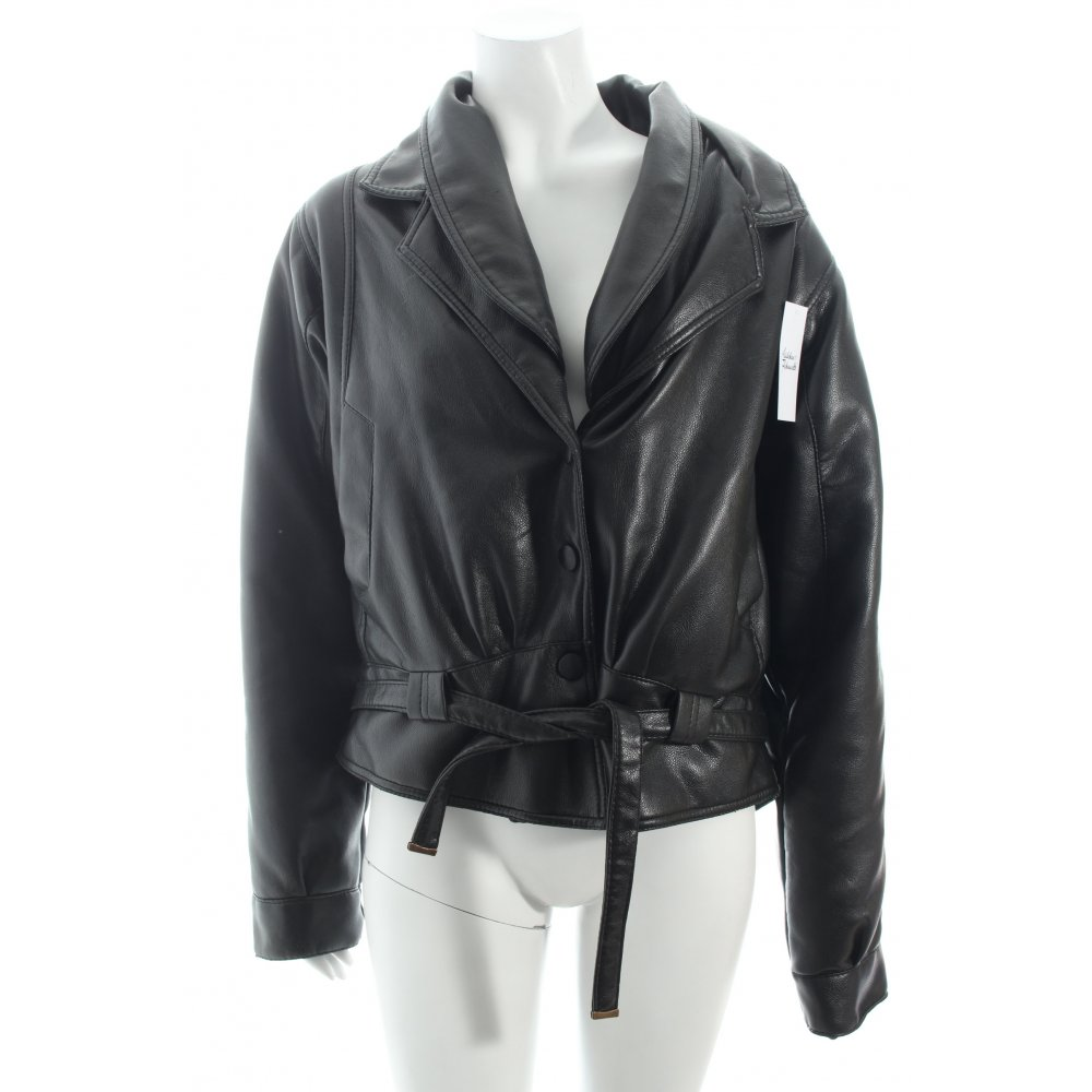 pervin co lederjacke schwarz biker look damen gr de 36 jacke jacket leder ebay. Black Bedroom Furniture Sets. Home Design Ideas