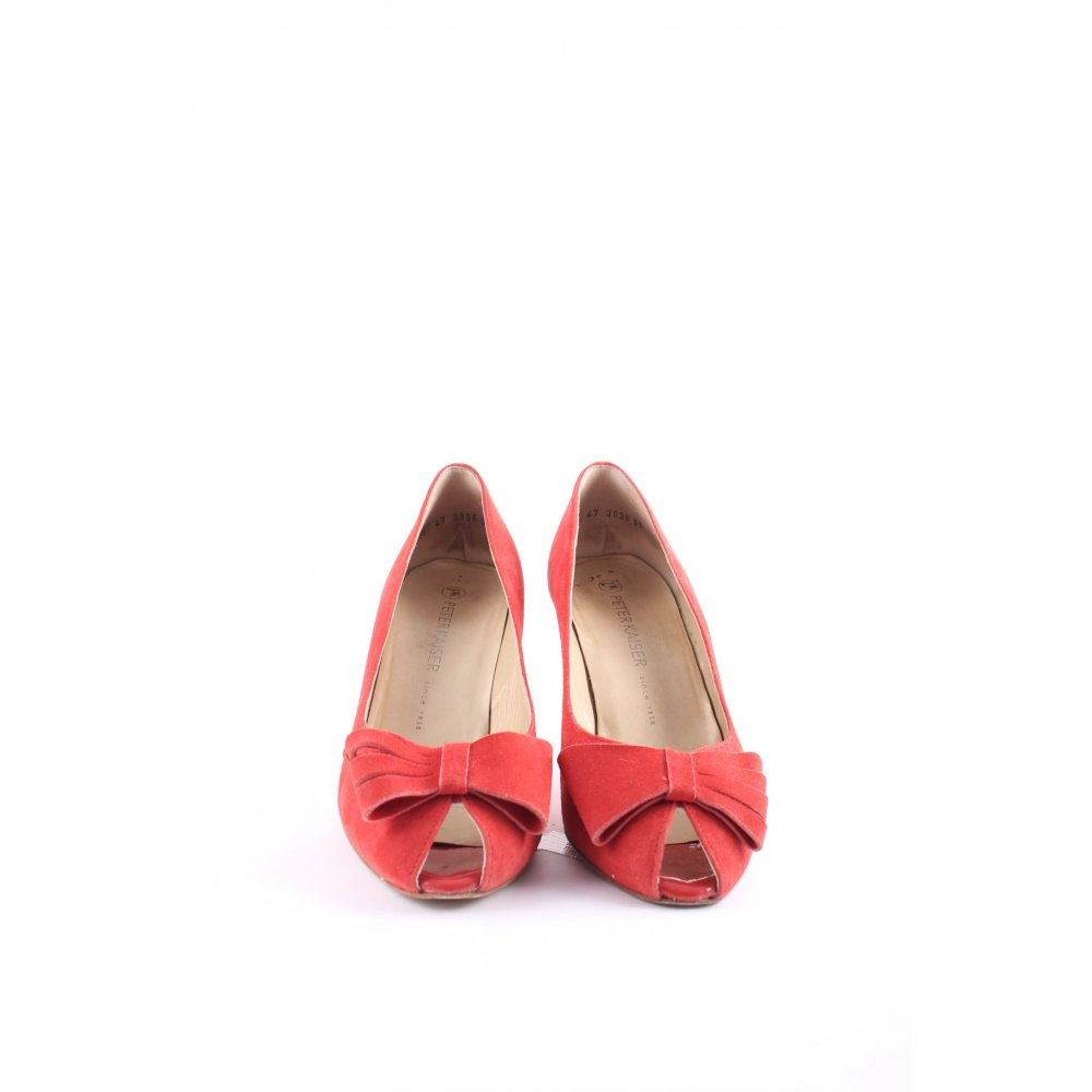 peter kaiser peep toe pumps bright red rockabilly style. Black Bedroom Furniture Sets. Home Design Ideas