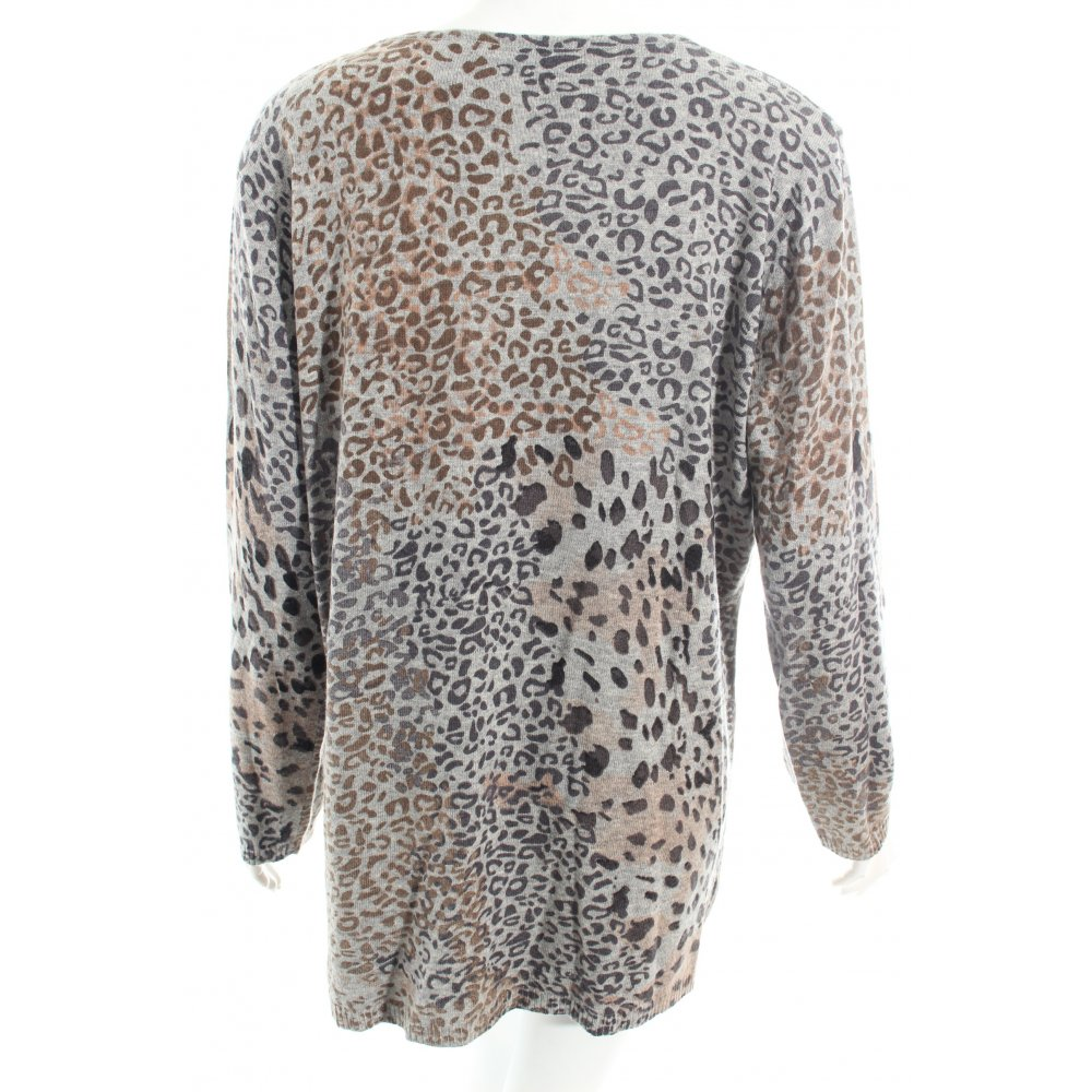 Leopard Knitting Pattern : PFEFFINGER Knitted Sweater leopard pattern casual look Women s Size UK 20 gre...