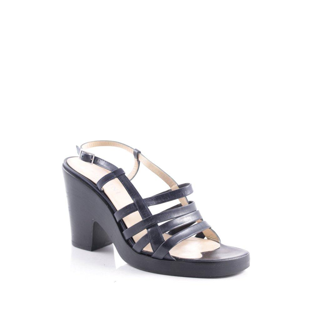 pollini high heel sandaletten dunkelblau damen gr de 37 5. Black Bedroom Furniture Sets. Home Design Ideas