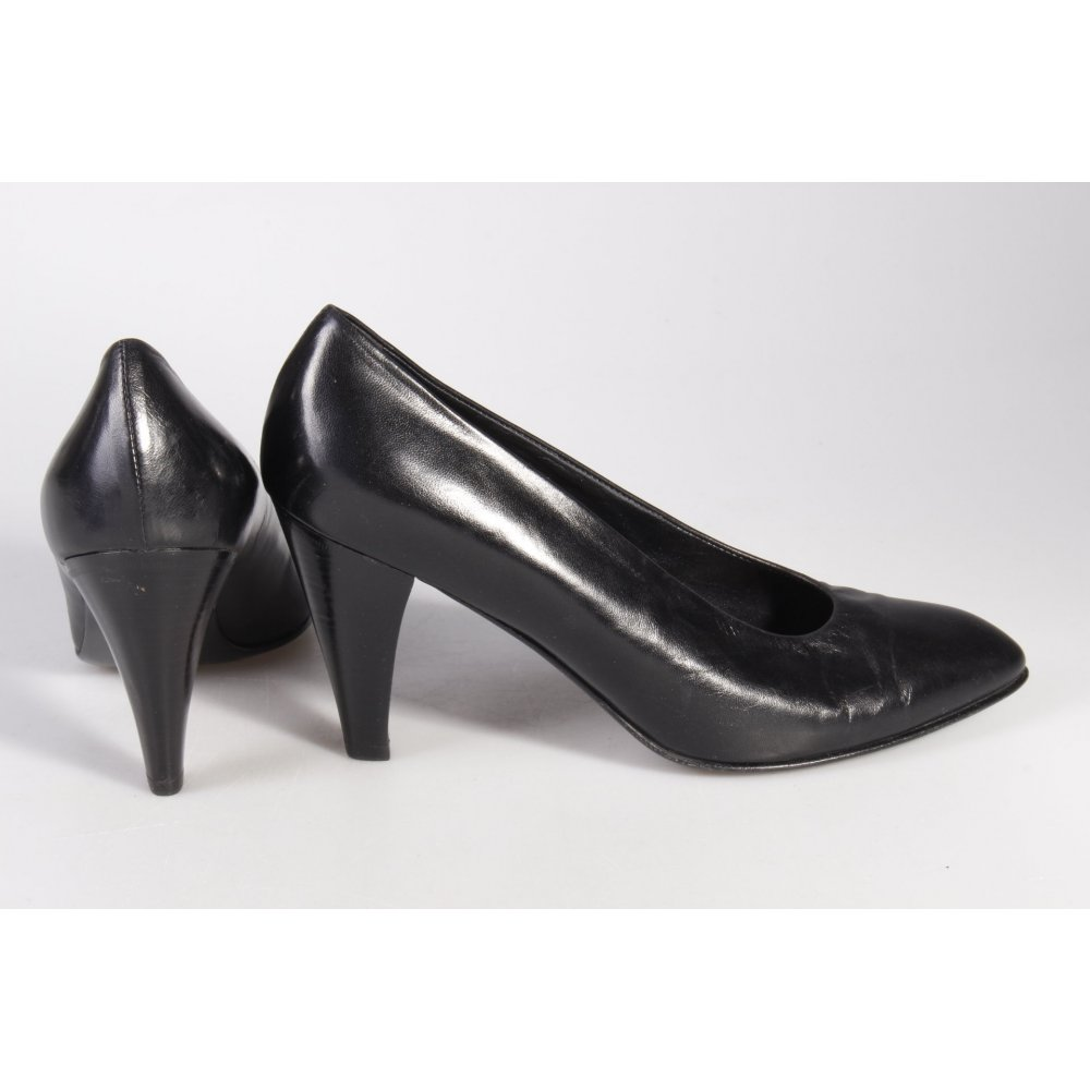 pollini pumps schwarz damen gr de 38 schuhe shoes leder damenschuhe ebay. Black Bedroom Furniture Sets. Home Design Ideas