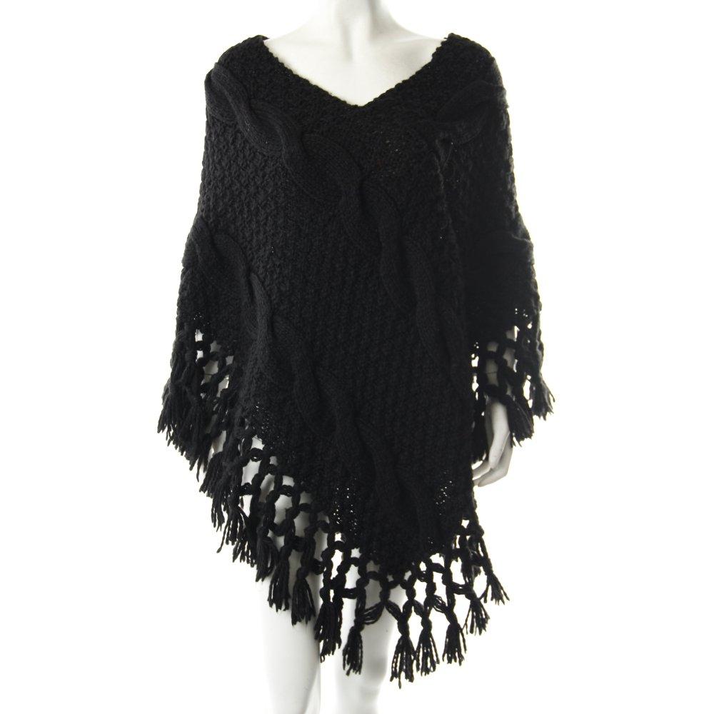 poncho schwarz h keloptik damen gr de 38 strickbekleidung knitwear ebay. Black Bedroom Furniture Sets. Home Design Ideas