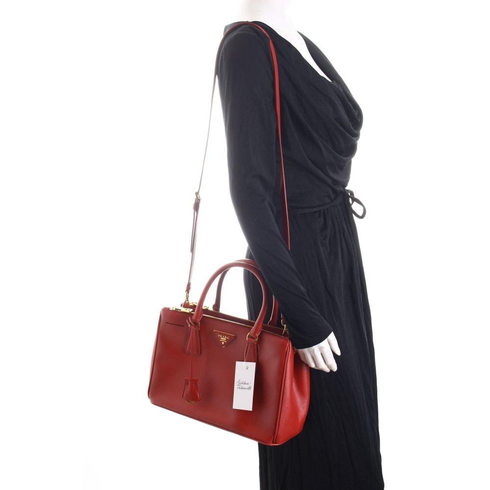 prada handtasche rot elegant damen tasche bag leder. Black Bedroom Furniture Sets. Home Design Ideas