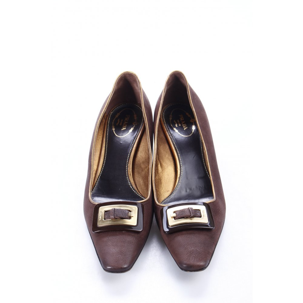 PRADA Pumps dark brown-gold-colored business style Women's ...