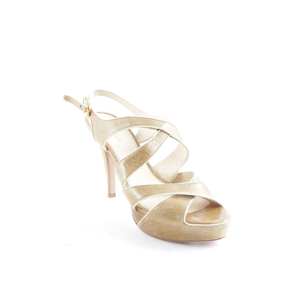 PRADA Sandalo con cinturino e tacco alto color cammellocrema elegante Donna
