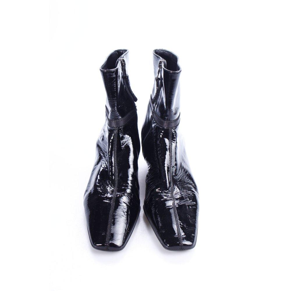 prada stiefeletten schwarz damen gr de 38 5 schuhe shoes leder booties ebay. Black Bedroom Furniture Sets. Home Design Ideas