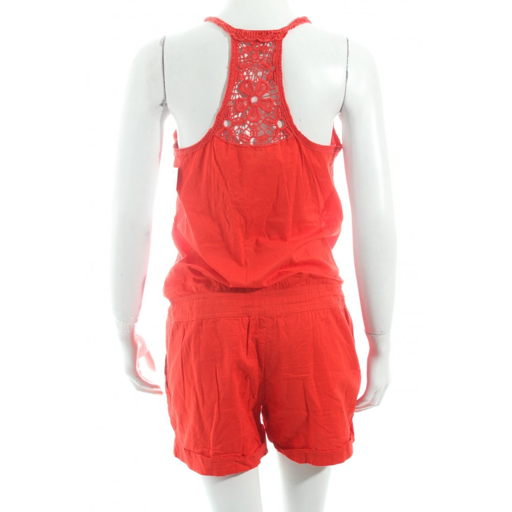 promod jumpsuit red casual look women s size uk 8 trousers cotton ebay. Black Bedroom Furniture Sets. Home Design Ideas