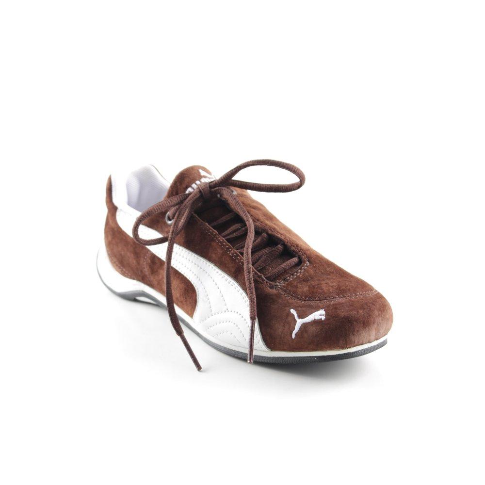 PUMA Sneaker stringata bianco marrone motivo astratto stile atletico Donna Pelle