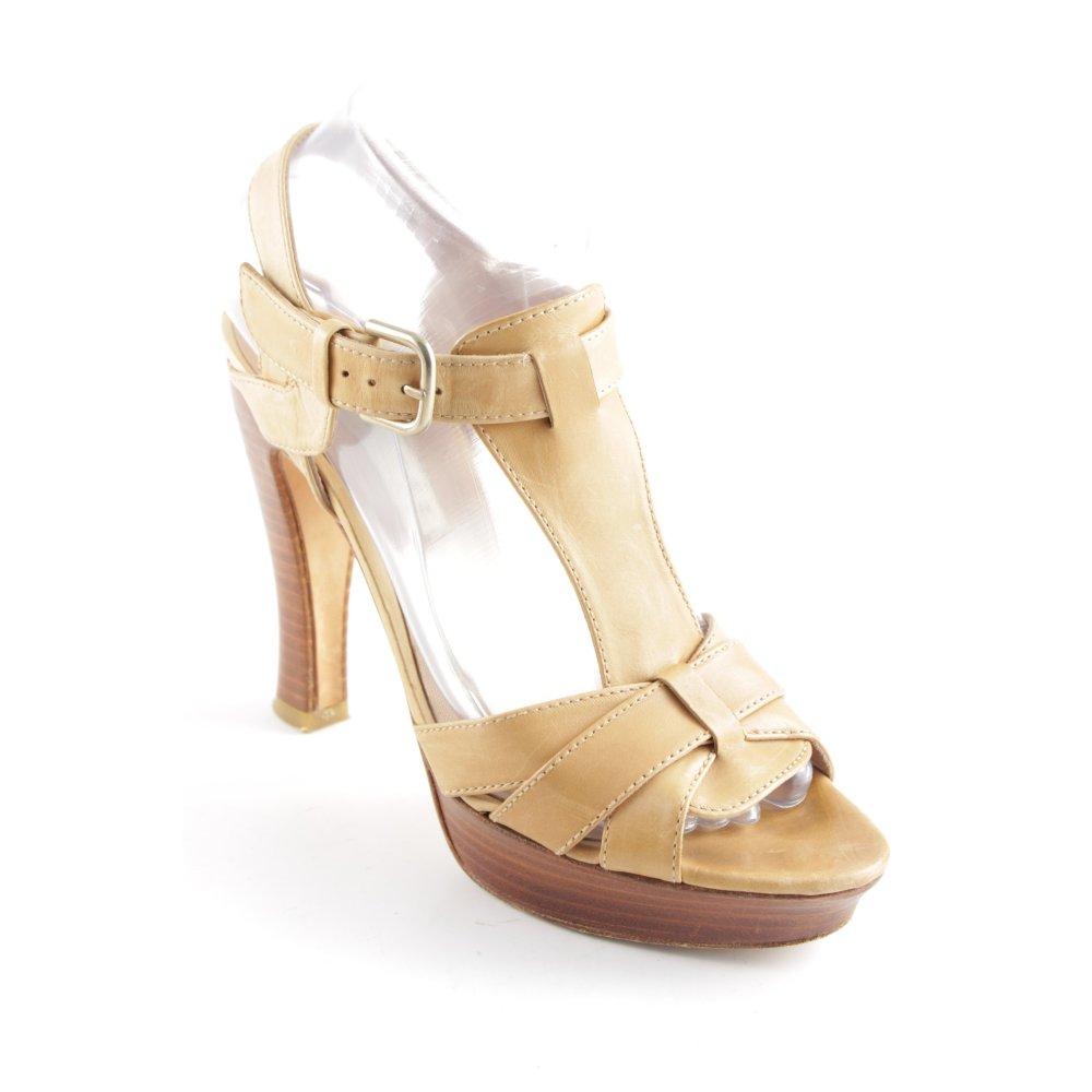 PURA LOPEZ Sandaletto con tacco alto beige Stile Boho Donna Taglia IT 38 Pelle