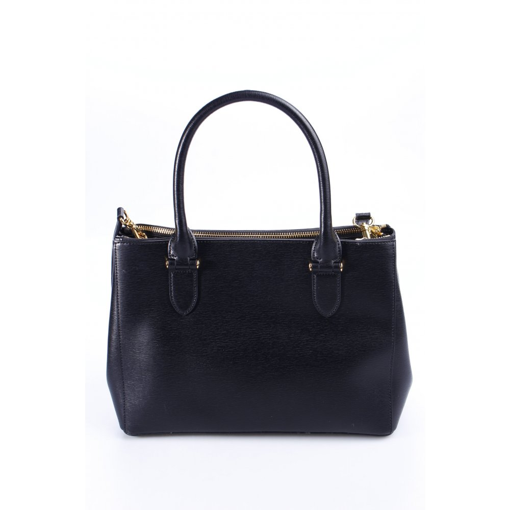 ralph lauren handbag black gold colored classic style women s bag ebay. Black Bedroom Furniture Sets. Home Design Ideas
