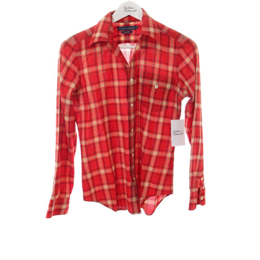 ralph lauren hemd bluse rot creme karomuster business look. Black Bedroom Furniture Sets. Home Design Ideas