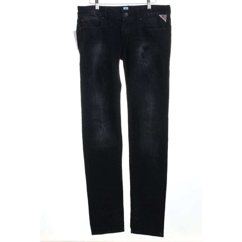 replay slim jeans schwarz biker look damen gr de 40. Black Bedroom Furniture Sets. Home Design Ideas