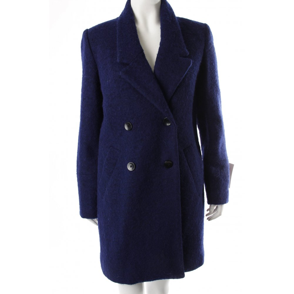 reserved mantel dunkelblau damen gr de 36 blau coat wollmantel wool coat ebay. Black Bedroom Furniture Sets. Home Design Ideas