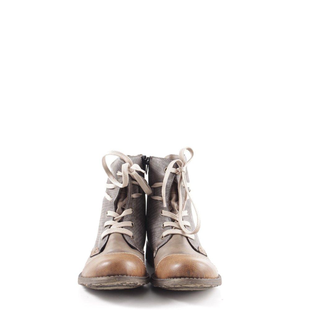 Détails sur RIEKER Bottes à lacets bronze gris clair style décontracté Dames T 39