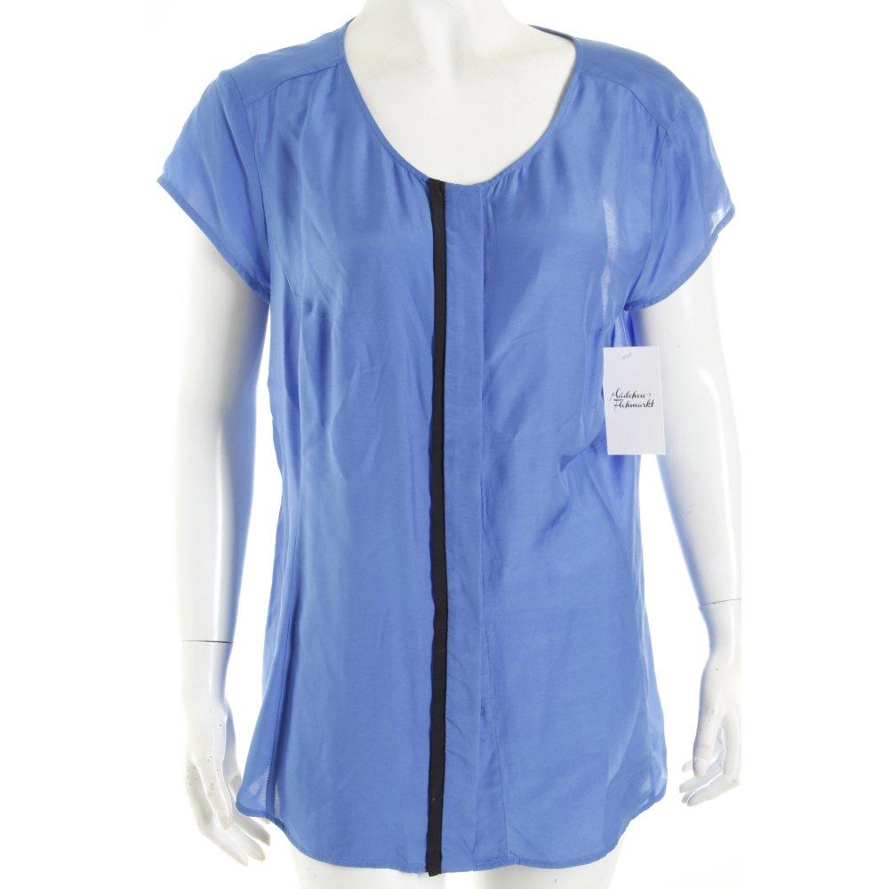 s oliver selection kurzarm bluse stahlblau schwarz business look damen gr de 40 ebay. Black Bedroom Furniture Sets. Home Design Ideas