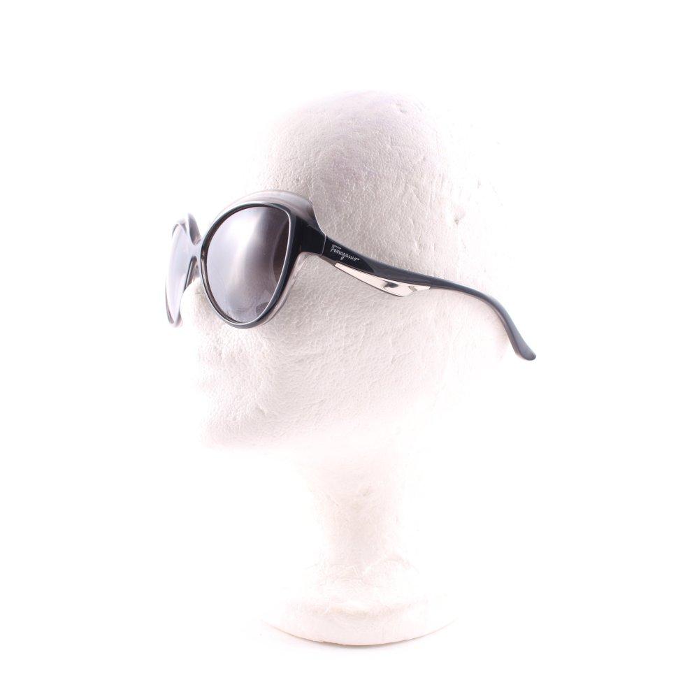 salvatore ferragamo runde sonnenbrille schwarz grau extravaganter stil damen ebay. Black Bedroom Furniture Sets. Home Design Ideas