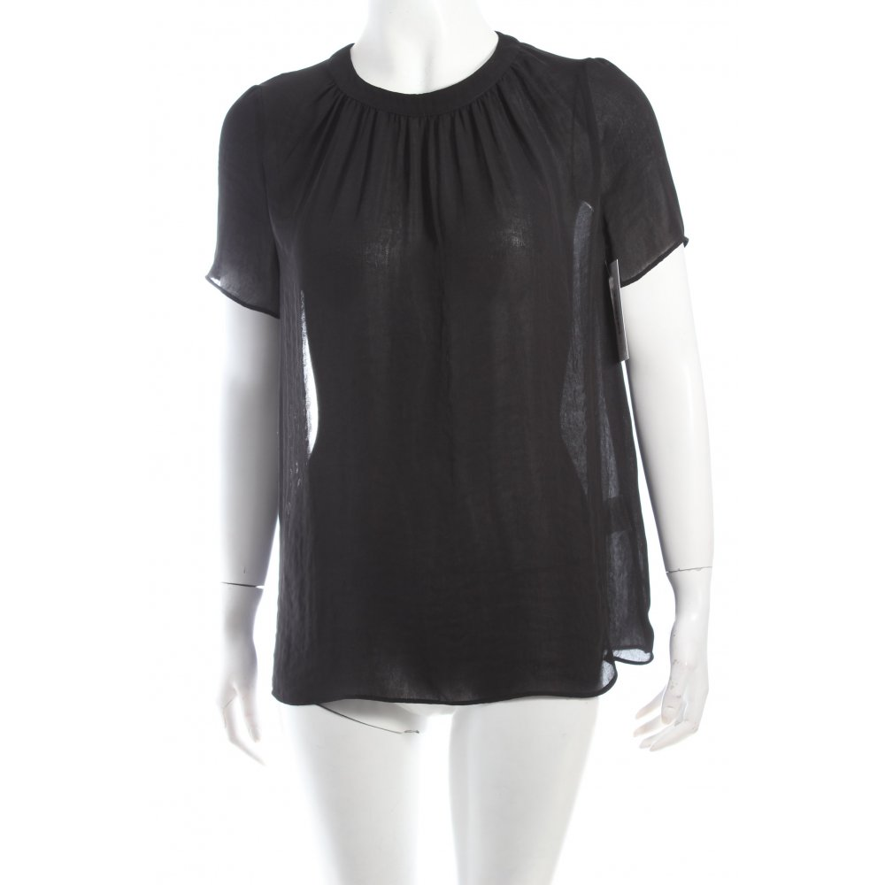 sandro kurzarm bluse schwarz extravaganter stil damen gr de 36 blouse ebay. Black Bedroom Furniture Sets. Home Design Ideas