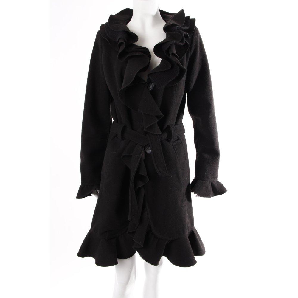 schwarzer mantel mit volants damen gr de 36 schwarz coat. Black Bedroom Furniture Sets. Home Design Ideas