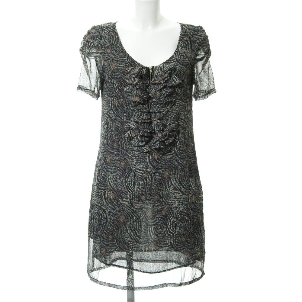 See U Soon Robe Chiffon Noir Creme Motif Abstrait Elegant Dames T 40 Ebay