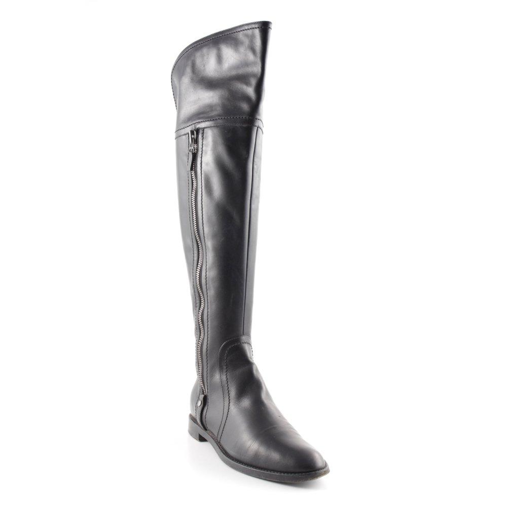 SERGIO ROSSI Absatz Stiefel schwarz silberfarben Casual Look Damen Gr. DE 36
