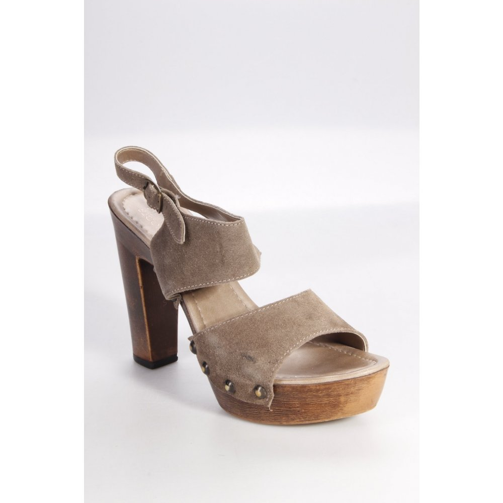 seven seconds plateau sandalen braun damen gr de 39 graubraun sandals ebay. Black Bedroom Furniture Sets. Home Design Ideas