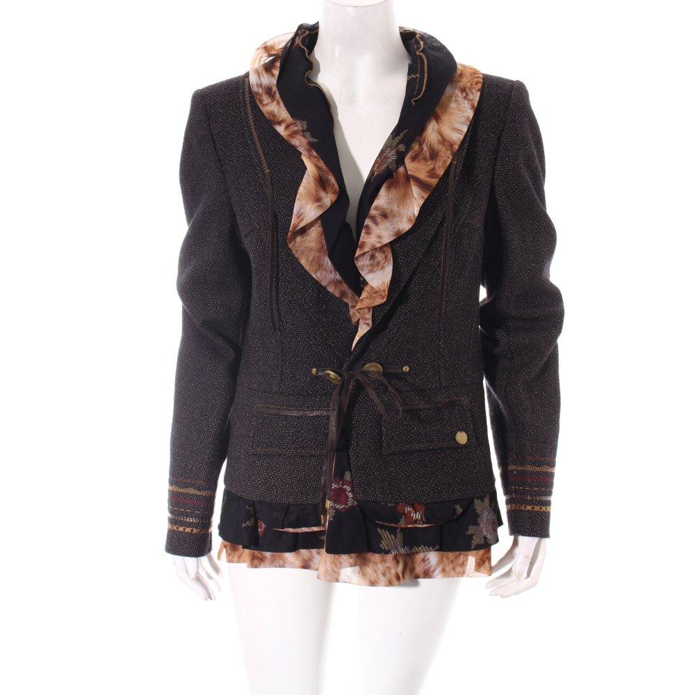 sportalm blazer schwarz materialmix look damen gr de 40 ebay. Black Bedroom Furniture Sets. Home Design Ideas