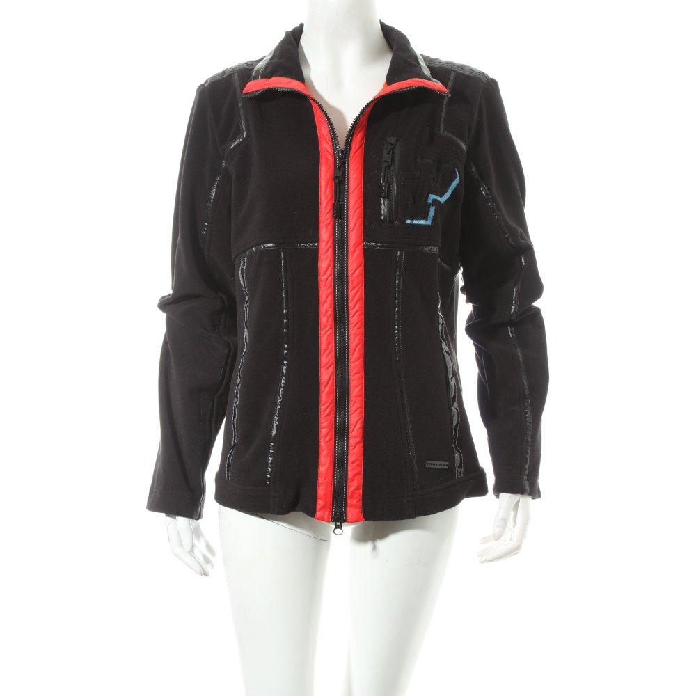 sportalm fleecejacke schwarz rot sportlicher stil damen gr de 42 jacke jacket ebay. Black Bedroom Furniture Sets. Home Design Ideas