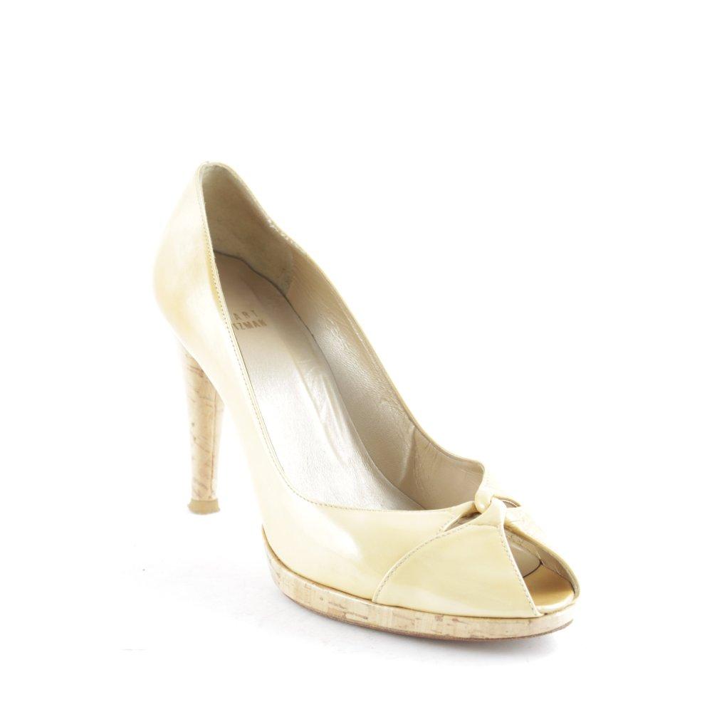stuart weitzman peeptoe pumps golden dore patent damen gr de 38 5 beige ebay. Black Bedroom Furniture Sets. Home Design Ideas