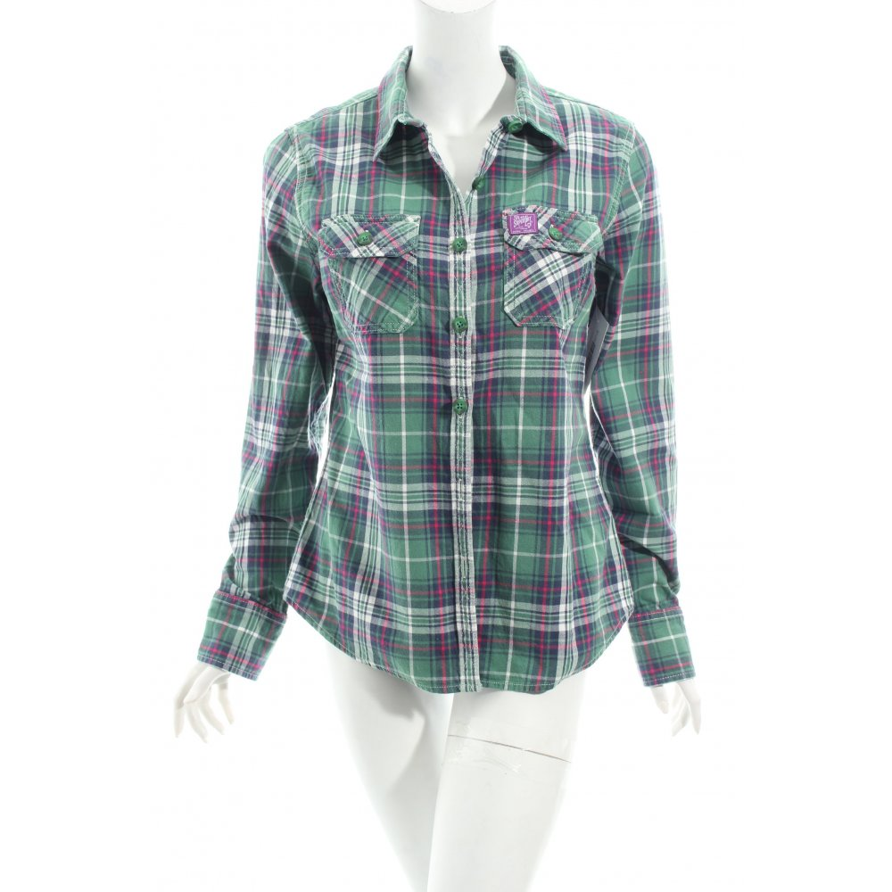 Superdry long sleeve shirt check pattern casual look women for Long sleeve shirt pattern