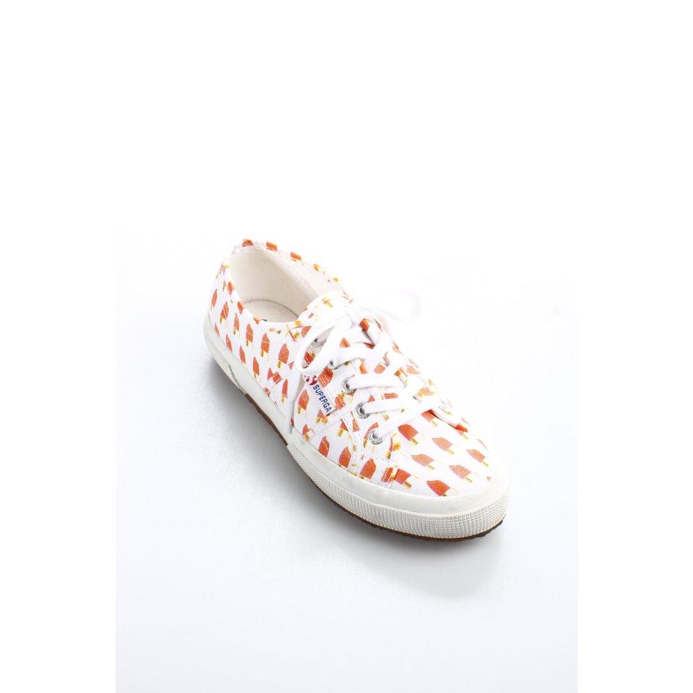 SUPERGA Scarpa stringata biancoarancione stile casual Donna Taglia IT 39 Cotone