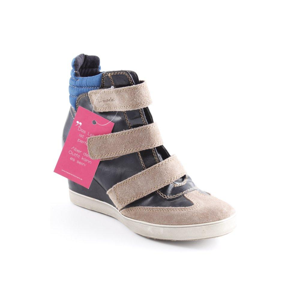 Détails sur TAMARIS Basket à talon multicolore style mode des rues Dames T 40 noir cuir