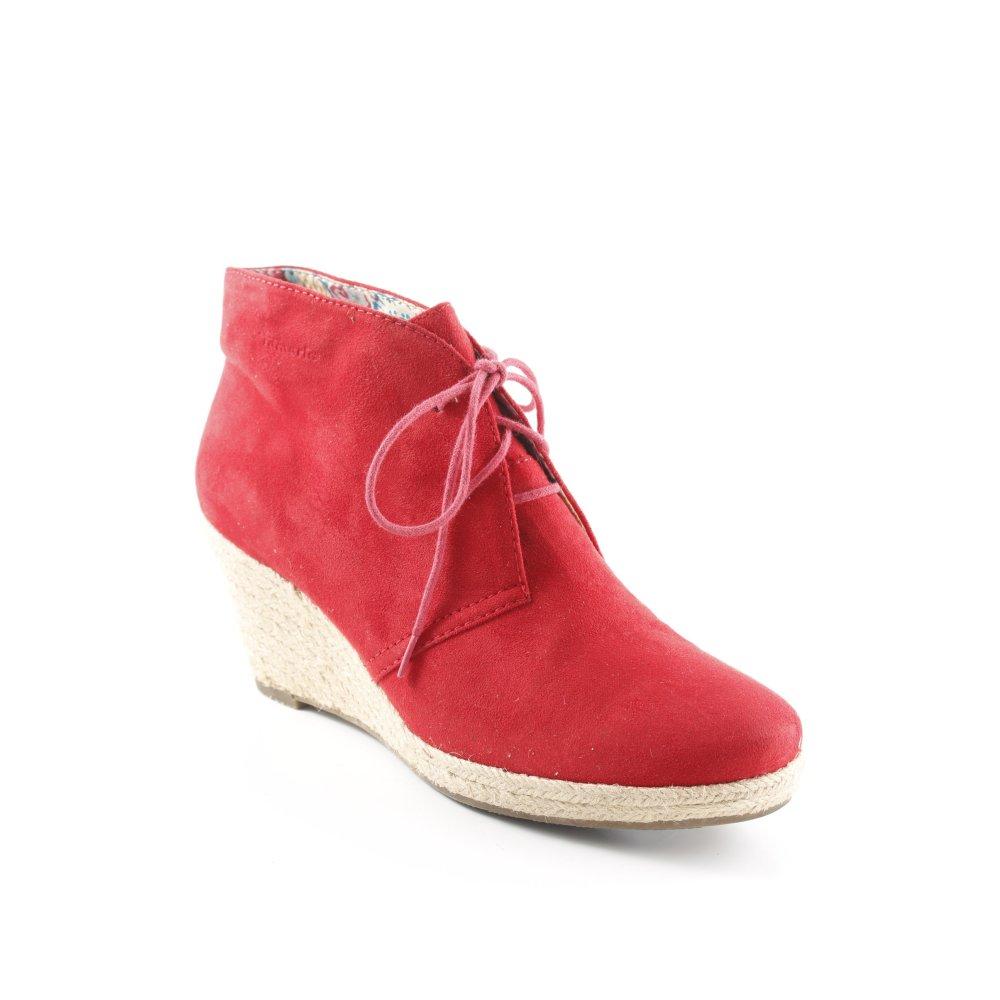 Dettagli su TAMARIS Stivaletto con zeppa rosso mattone stile casual Donna Taglia IT 39
