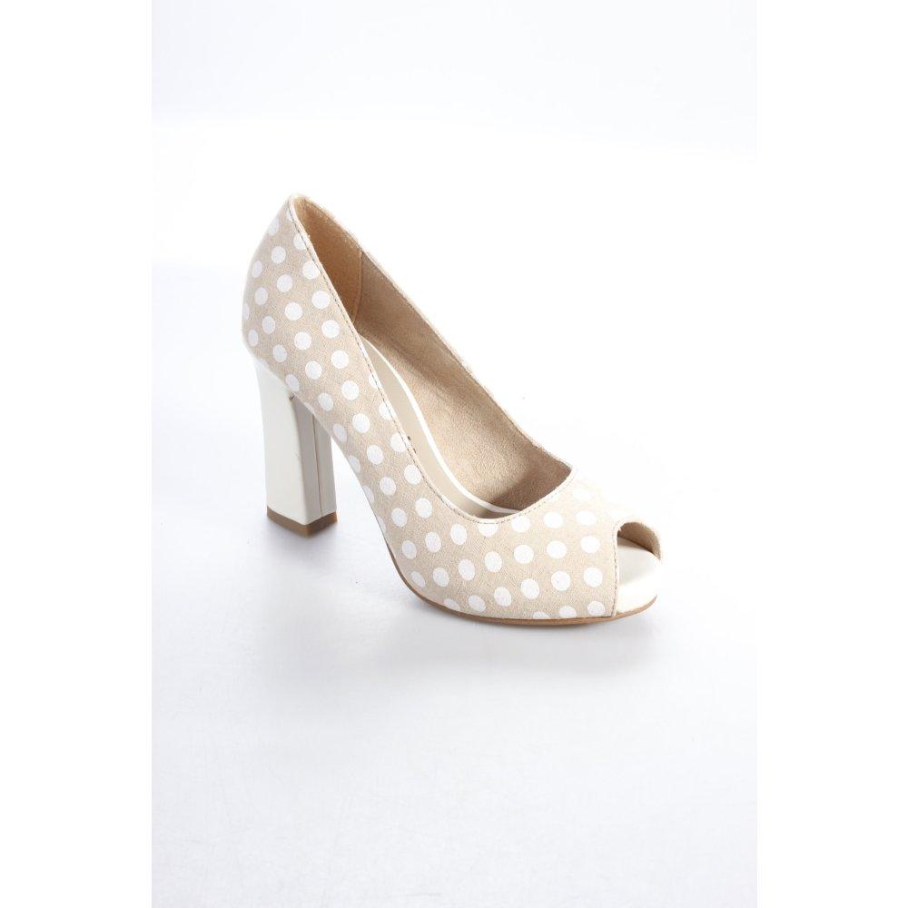 tamaris peep toe pumps spot pattern rockabilly style women s size uk 2 beige ebay. Black Bedroom Furniture Sets. Home Design Ideas