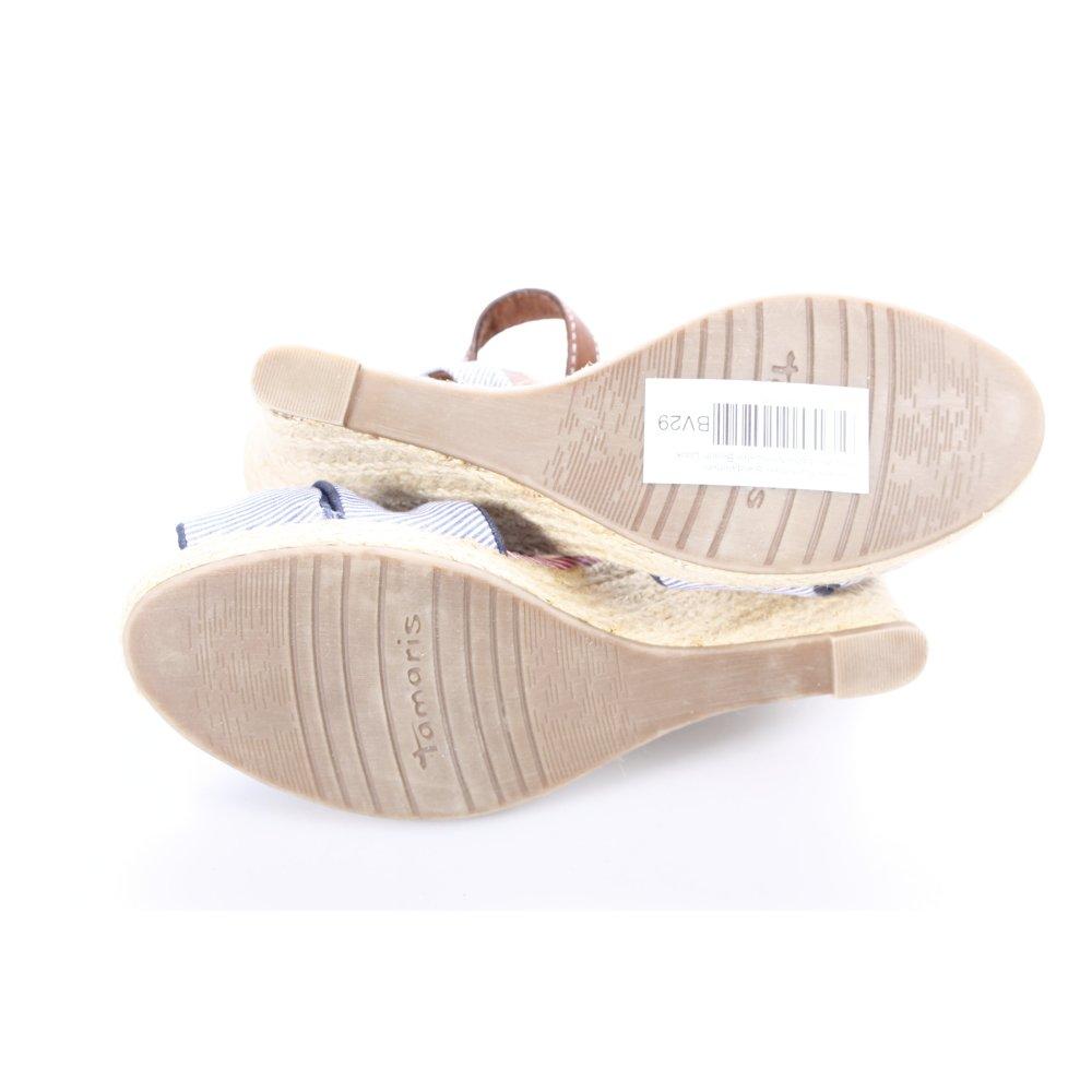 tamaris riemchen sandaletten blau wei streifenmuster. Black Bedroom Furniture Sets. Home Design Ideas