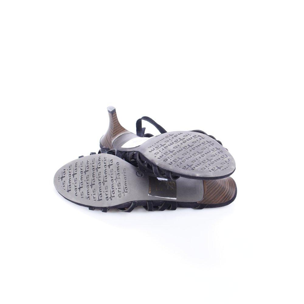 tamaris riemchen sandaletten schwarz braun party look. Black Bedroom Furniture Sets. Home Design Ideas